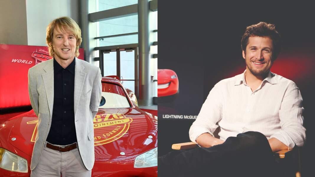 """C'est qu'il en fallait sous le capot pour incarner Flash McQueen (""""Cars""""). N'est-ce pas Owen Wilson et Guillaume Canet ?"""