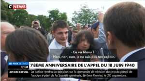 """Emmanuel Macron recadre violemment un adolescent qui l'appelle """"Manu"""""""