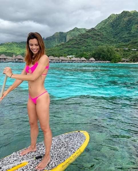Marine Lorphelin a fait du paddle à Moorea.