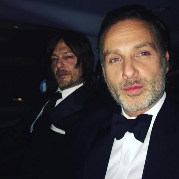 Norman Reedus et Andrew Lincoln en costume... On n'a pas l'habitude !