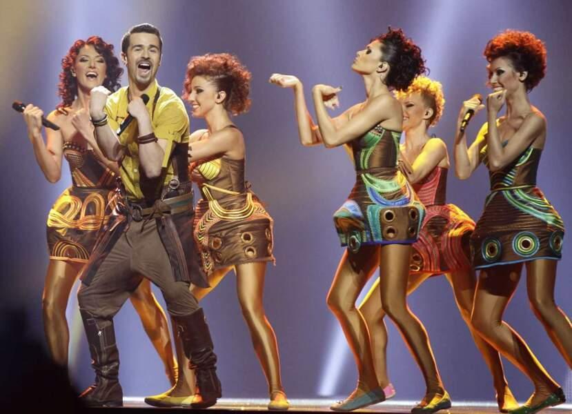 """La team moldave avait elle aussi opté pour des costumes """"avant-gardistes"""" (on dit ça pour être sympa)"""