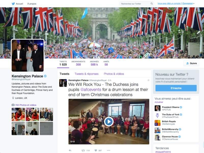 Janvier : William et Kate ouvrent un compte twitter @kensingtonroyal