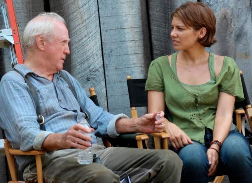 Hershel (sans sa barbe) et Maggie (Lauren Cohan), entre deux scènes