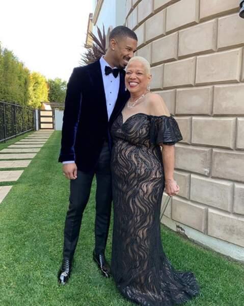 Michael B Jordan et sa maman, prêts pour les festivités