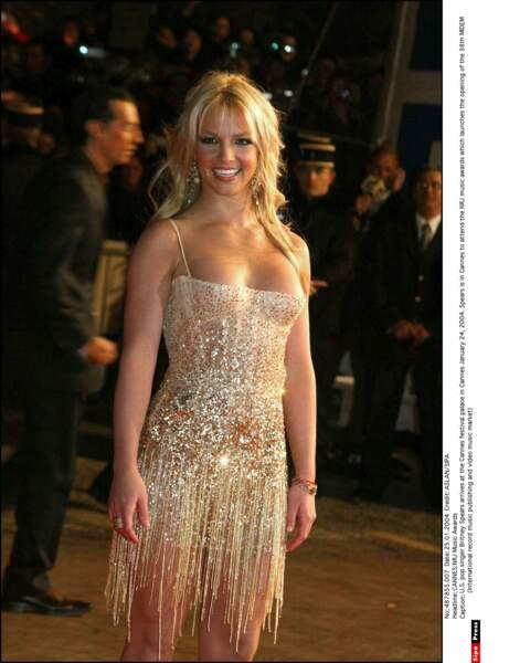 Lors de ses différents passages à Cannes, ici en 2004, Britney Spears est repartie avec 3 récompenses