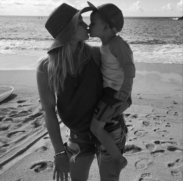 Elle a aussi crié son amour pour son petit Luca