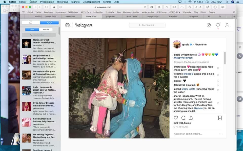 Tendre moment entre Gisele Bündchen et sa fille de 6 ans, Vivian Lake, déguisée en licorne