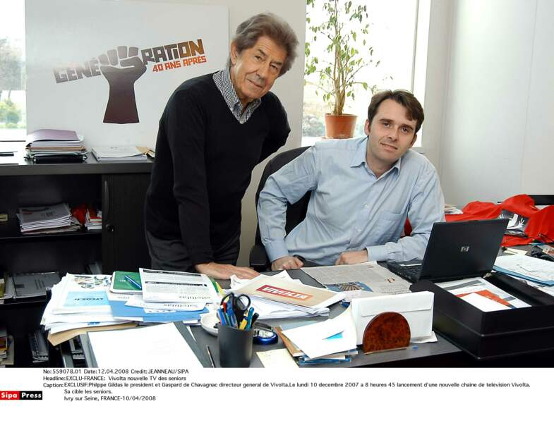 Philppe Gildas et Gaspard de Chavagnac directeur général de Vivolta pour le lancement de la chaine