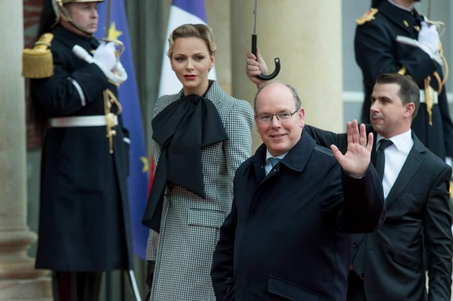 Charlène et Albert de Monaco arrivent à l'Elysée pour la commémoration du 11 novembre