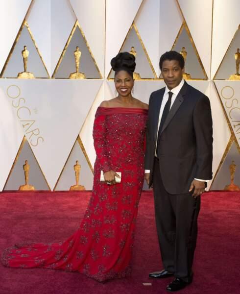 Denzel et Pauletta Washington, à leur arrivée au Dolby Theater