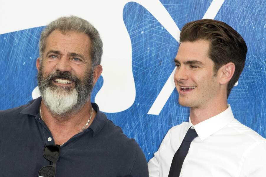 Mel Gibson et Andrew Garfield, acteur dans son film Tu ne tueras point