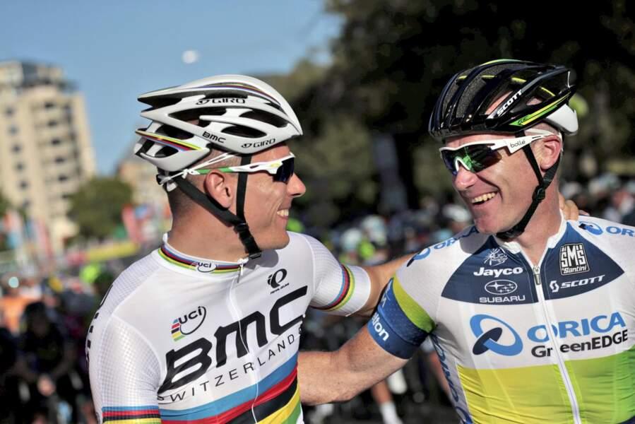 Stuart O'Grady, à droite de Philippe Gilbert, 39 ans, est lui-aussi un habitué du Tour (17e participation) !