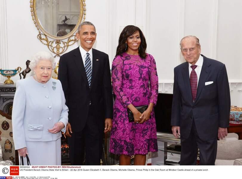 Barack et Michelle Obama entourés de la reineÉlisabeth II et du prince Philip au château de Windsor