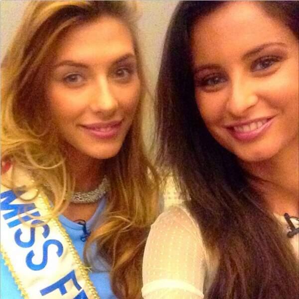 Commençons par nos amies les Miss. Petit selfie entre Camille Cerf et Malika Ménard
