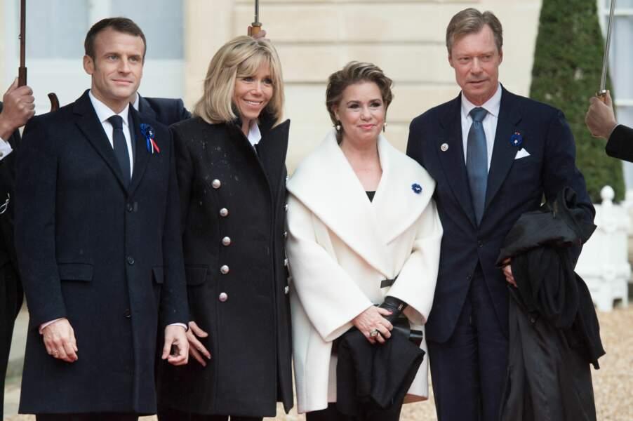 Brigitte et Emmanuel Macron accueillent le Grand Duc du Luxembourg Henri et la Grande Duchesse Maria Theresa