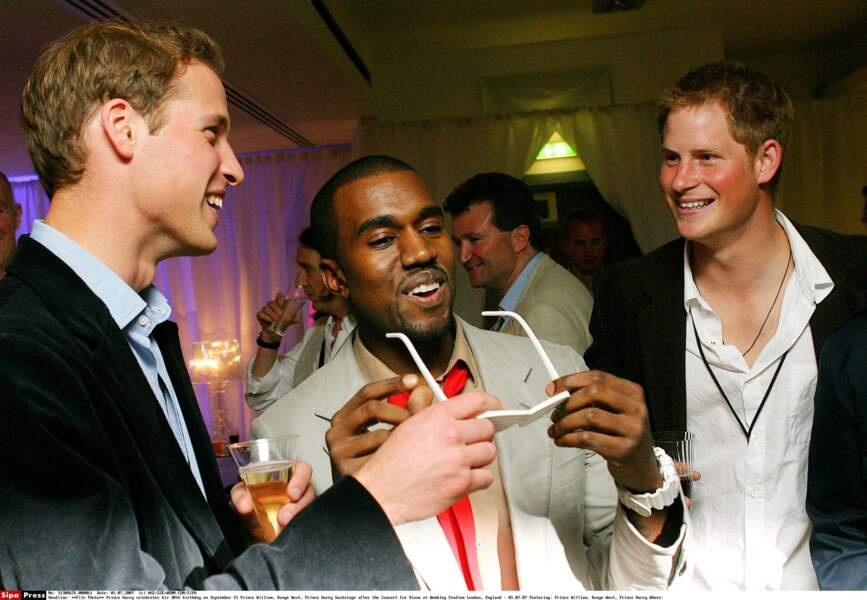 Harry et William en compagnie de Kanye West lors du concert hommage à Lady DIANA en  juillet 2007