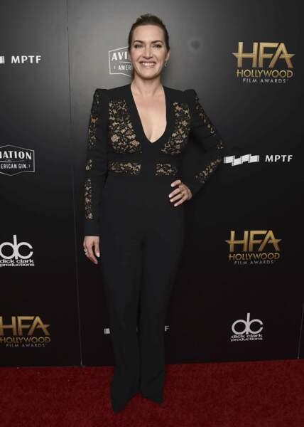 L'actrice britannique est apparue dans une tenue noire transparente