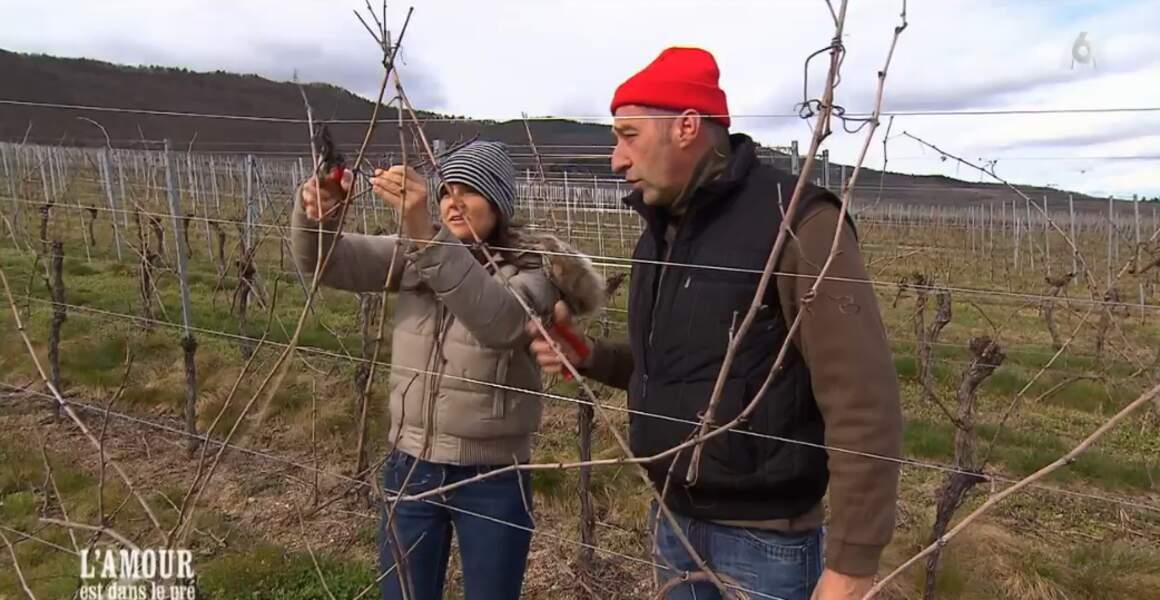 Petit cours de taillage de vignes pour Laetitia avec le commandant Cousteau. Euh, Bruno, pardon