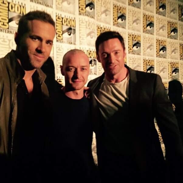 Deadpool (Ryan Reynolds), Professeur Xavier (James McAvoy) et Wolverine (Hugh Jackman)