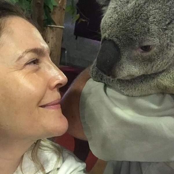 Trop mignon : la belle rencontre de Drew Barrymore avec un koala.
