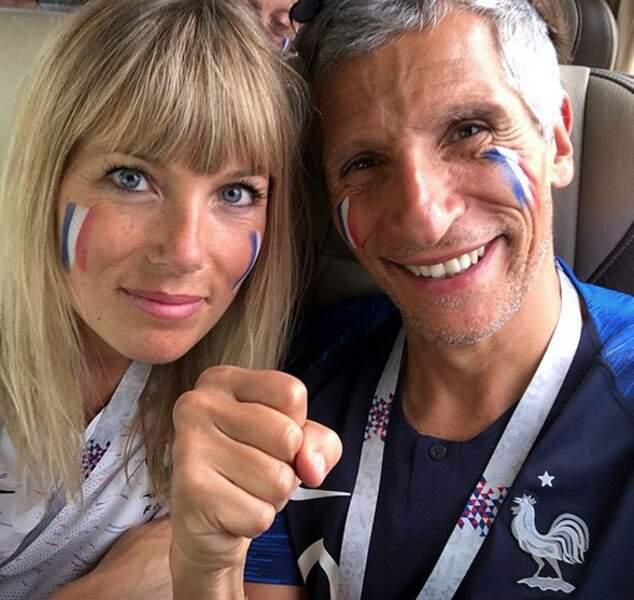 Comme pour chaque match des Bleus, Nagui et sa femme Mélanie Page viennent soutenir les Bleus