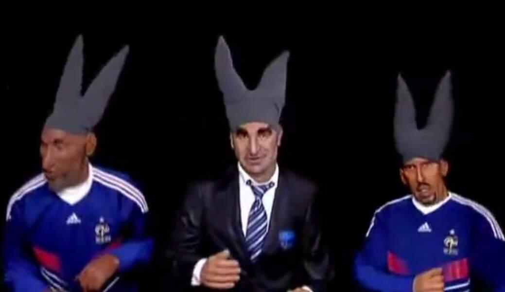 ... Et Nicolas Anelka, Raymond Domenech et Franck Ribéry après leur fiasco en Afrique du Sud.