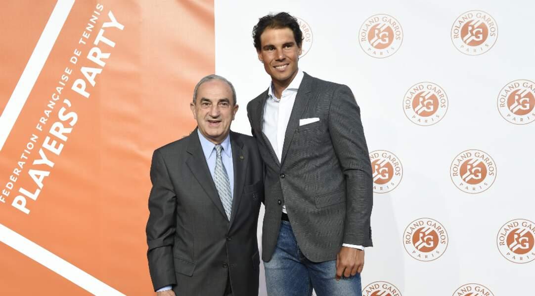 Jean Gachassin, président de la FFT accueille le nonuple vainqueur du tournoi Rafael Nadal