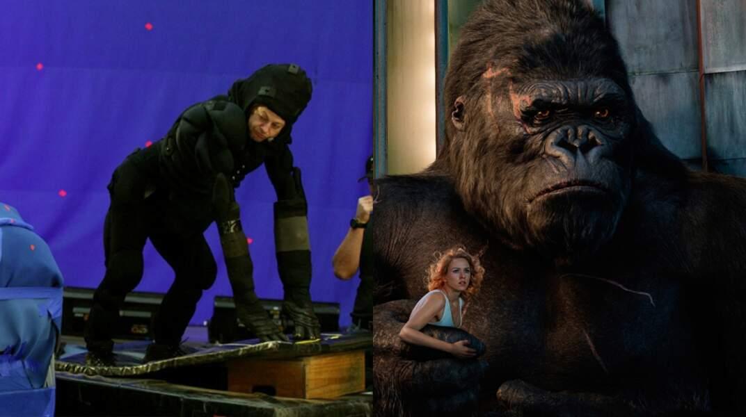 Andy Serkis en King Kong (2005), l'acteur s'est inspiré des gorilles du Rwanda pour le rôle