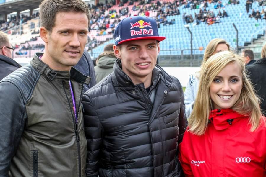Sébastien Ogier (gauche) a croisé Max Verstappen et sa compagne Mikaela Ahlin Kottulinsky