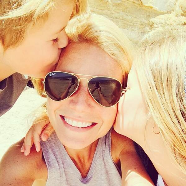 L'actrice Gwyneth Paltrow avec Apple, sa fille et Moses, son fils. Trop mignooooon !