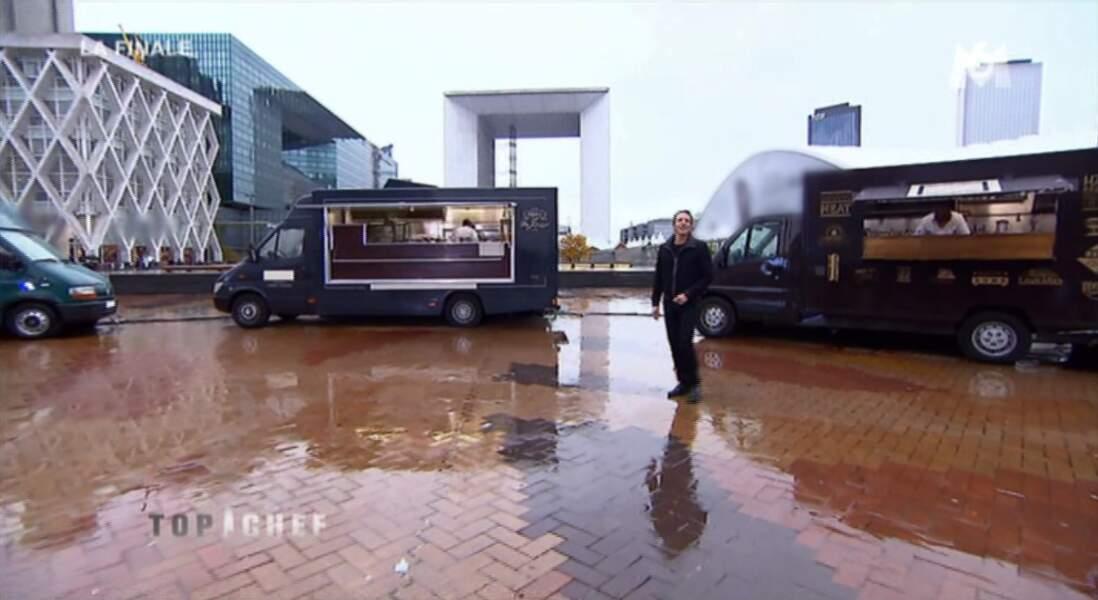 Décor paradisiaque pour la finale de Top Chef : la Défense un jour de pluie