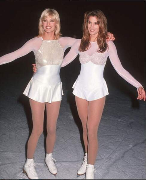 Ici avec Linda Evangelista, en patineuse.