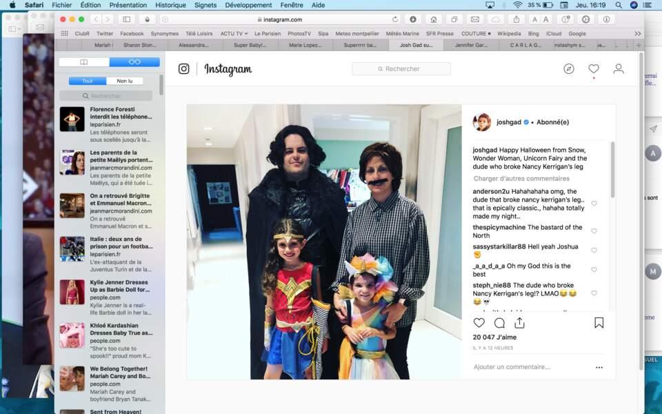 Pas de thème familial chez l'acteur Joshua Gad : papa est en Jon Snow, ses filles en Wonder Woman ou en licorne