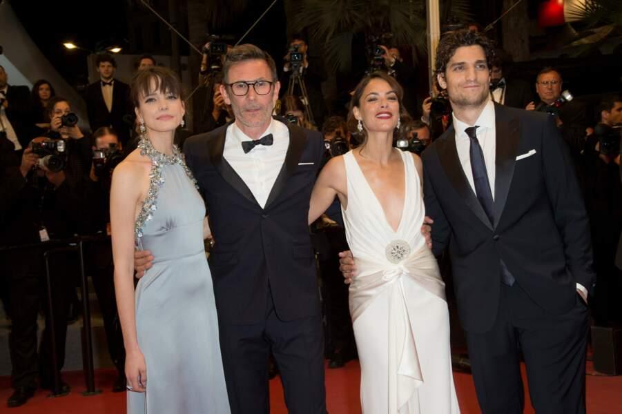 Stacy Martin, Michel Hazanavicius, Bérénice Bejo et Louis Garrel complices pour présenter Le Redoutable