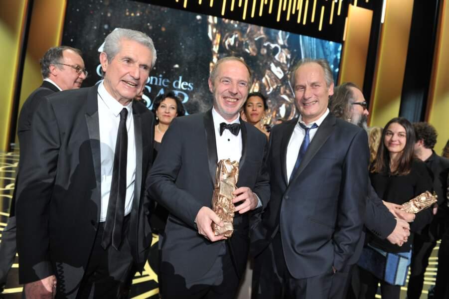 Arnaud Desplechin, César du meilleur réalisateur, entouré par Claude Lelouch et Hyppolite Girardot
