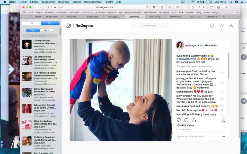Eva Longoria a fait découvrir les joies d'Halloween à son fils
