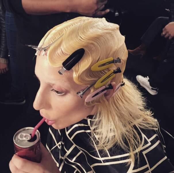 AU SECOURS : les cheveux de Lady Gaga vus de près.