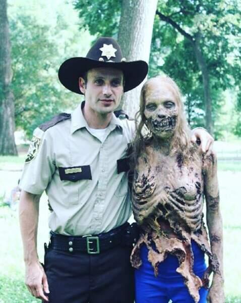Andrew Lincoln en charmante compagnie pendant le tournage du tout premier épisode de la série.
