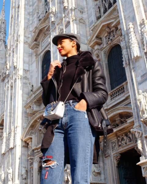 Flora Coquerel a fait la touriste à Milan.