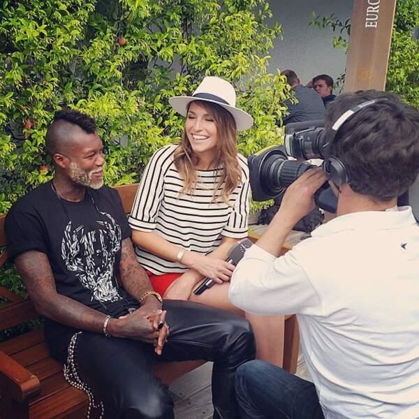Laury Thilleman a aussi fait de belles rencontres. Ici elle est avec Djibril Cissé.