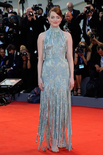 Avec sa robe à paillettes pour la présentation du film de Damien Chazelle