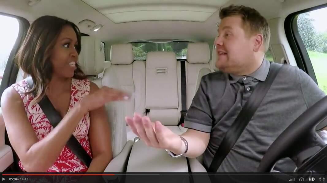 20 juillet 2016 : Michelle Obama s'essaie au carpool karaoké de James Corden