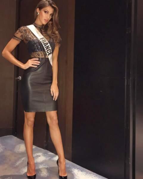 Sexy : Iris Mittenaere tout en dentelles et cuir au concours Miss Univers.