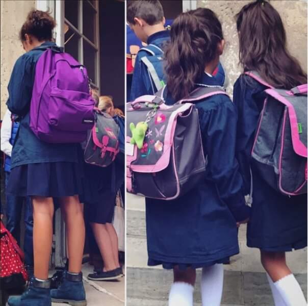 Pour l'occasion, les filles de Sonia Rolland étaient assorties de bleu et de rose