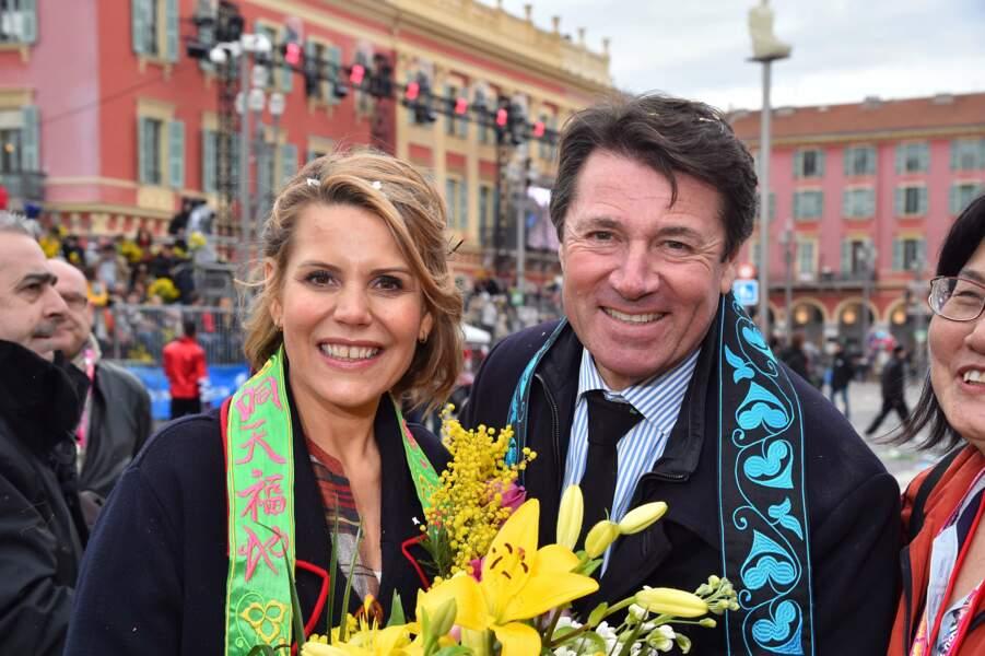 Jolies écharpes pour Laura et Christian Estrosi