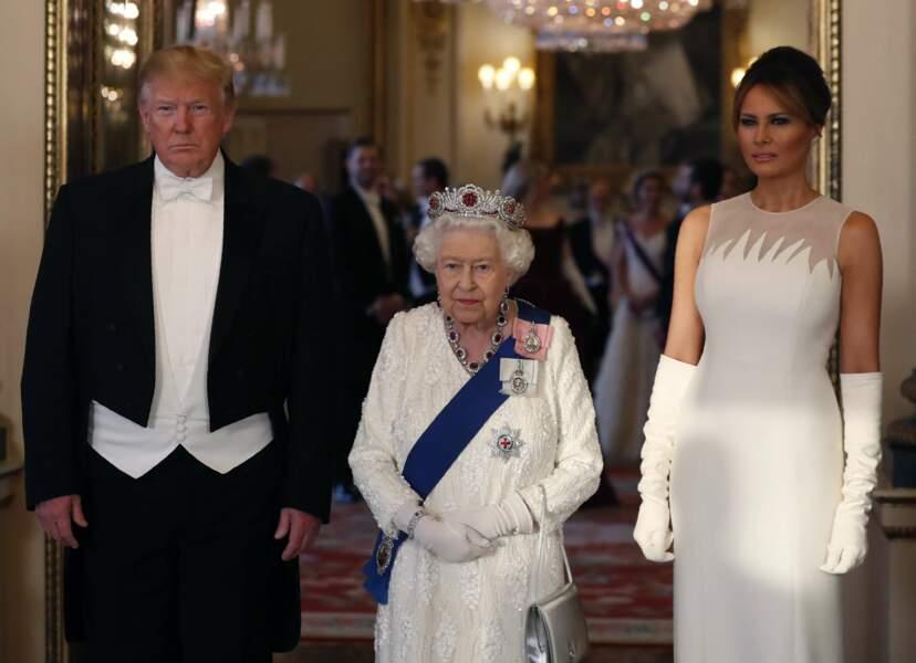 La reine Elisabeth II a reçu Donald et Melania Trump en grandes pompes à Buckingham