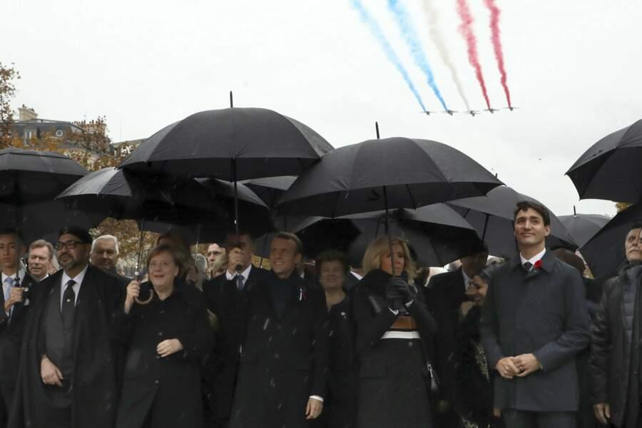 Les parapluies étaient de rigueur pour cette commémoration de l'Armistice de la guerre de 14-18