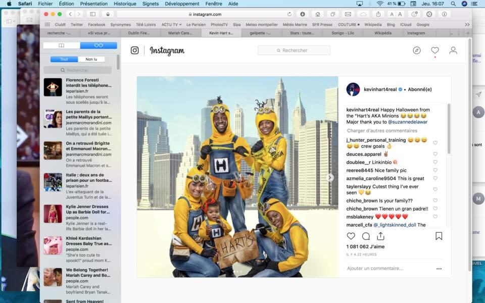Le roi du rire américain Kevin Hart a posé en famille sur le thème des Minions