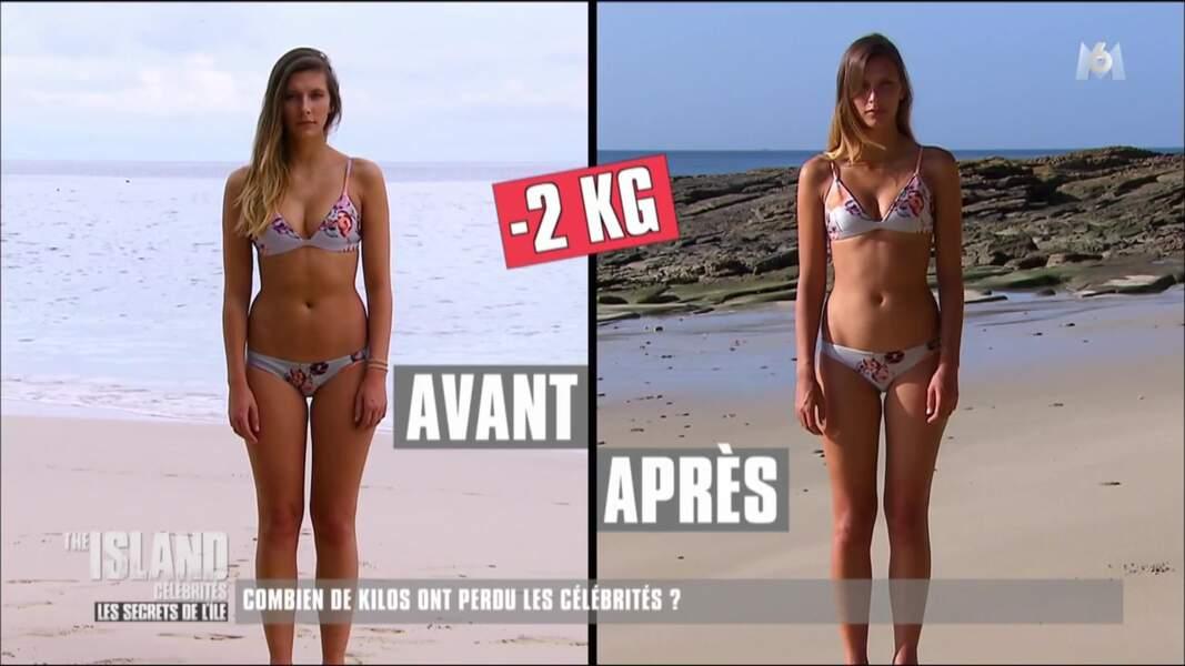 C'est un peu moins pour Camille Cerf qui a perdu 2 kilos