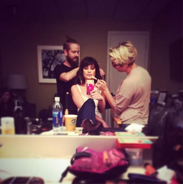 Et Lea Michele en pleine séance maquillage !
